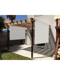 Real Scene Effect of Windscreen4less custom size Beige and White Stripes 3-16ft. W x 4-40ft. H Outdoor Sun Shade Panel Universal Pergola Replacement Cover Canopy with Grommets Weight Rods Sun Block Cover for Patio Backyard 180GSM (3 Year Warranty)