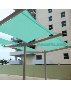 Real Scene Effect of Windscreen4less Terylene Waterproof 12ft x 12ft Rectangle Curve Edge Sun Shade Sail Canopy in Color Turquoise Green for Outdoor Patio Backyard UV Block Awning with Steel D-Rings 220GSM (1 Year Warranty)