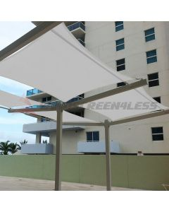 Real Scene Effect of Windscreen4less Terylene Waterproof 8ft x 12ft Rectangle Curve Edge Sun Shade Sail Canopy in Color Light Gray for Outdoor Patio Backyard UV Block Awning with Steel D-Rings 220GSM (1 Year Warranty)