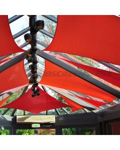 Real Scene Effect of Windscreen4less Terylene Waterproof 12ft x 12ft Rectangle Curve Edge Sun Shade Sail Canopy in Color Red for Outdoor Patio Backyard UV Block Awning with Steel D-Rings 220GSM (1 Year Warranty)