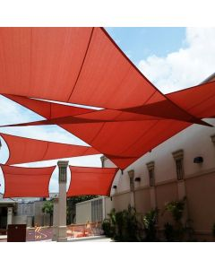 Real Scene Effect of Windscreen4less Terylene Waterproof Custom Size 5-24ft x 5-24ft x 5-34ft Triangle Curve Edge Sun Shade Sail Canopy in Color Red for Outdoor Patio Backyard UV Block Awning with Steel D-Rings 220GSM (1 Year Warranty)
