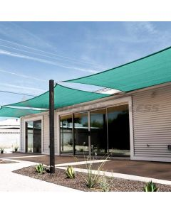 Real Scene Effect of Windscreen4less Steel Wired Turquoise Green Rectangle 18ft x 22ft A-Ring Reinforcement Heavy Duty Strengthen Durable(260GSM)-Galvanized Cable Enhanced Large Sun Shade Sail - 7 Year Warranty