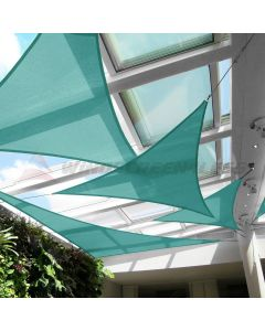 Real Scene Effect of Windscreen4less Steel Wired Turquoise Green Custom Size Triangle 2-48ft x 2-48ft x 2-68ft A-Ring Reinforcement Heavy Duty Strengthen Durable(260GSM)-Galvanized Cable Enhanced Large Sun Shade Sail - 7 Year Warranty