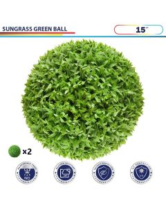 15 Inch Artificial Topiary Ball Faux Boxwood Plant for Indoor/Outdoor Garden Wedding Decor Home Decoration, Sungrass Green 2 Pieces