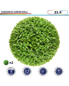 21.5 Inch Artificial Topiary Ball Faux Boxwood Plant for Indoor/Outdoor Garden Wedding Decor Home Decoration, Sungrass Green 2 Pieces