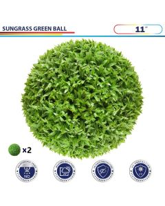 11 Inch Artificial Topiary Ball Faux Boxwood Plant for Indoor/Outdoor Garden Wedding Decor Home Decoration, Sungrass Green 2 Pieces