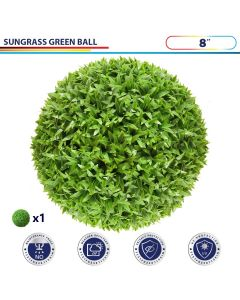 8 Inch Artificial Topiary Ball Faux Boxwood Plant for Indoor/Outdoor Garden Wedding Decor Home Decoration, Sungrass Green 1 Piece