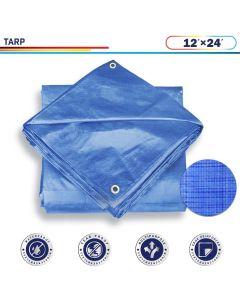 Windscreen4less 12ft x 24ft General Multiple Purpose 5 Mil Waterproof Blue Poly Tarp