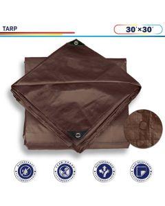 Windscreen4less 30ft x 30ft Super Heavy Duty 16 Mil Waterproof Dark Brown Poly Tarp