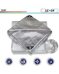 Windscreen4less 12ft x 24ft Heavy Duty 10 Mil Waterproof Silver Poly Tarp