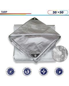 Windscreen4less 30ft x 30ft Heavy Duty 10 Mil Waterproof Silver Poly Tarp