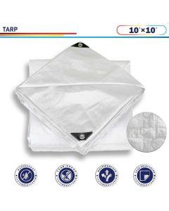 Windscreen4less 10ft x 10ft Heavy Duty 10 Mil Waterproof White Poly Tarp