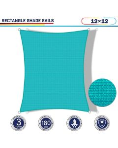 Windscreen4less 12ft x 12ft Rectangle Curve Edge Sun Shade Sail Canopy in Color Turquoise Green for Outdoor Patio Backyard UV Block Awning with Steel D-Rings 180GSM (3 Year Warranty) - Customized Sizes Available