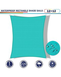 Windscreen4less Terylene Waterproof 12ft x 12ft Rectangle Curve Edge Sun Shade Sail Canopy in Color Turquoise Green for Outdoor Patio Backyard UV Block Awning with Steel D-Rings 220GSM (1 Year Warranty)