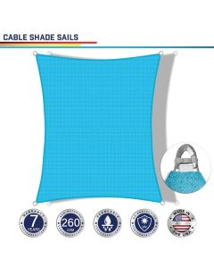 Windscreen4less Steel Wired Turquoise Green Rectangle 18ft x 22ft A-Ring Reinforcement Heavy Duty Strengthen Durable(260GSM)-Galvanized Cable Enhanced Large Sun Shade Sail - 7 Year Warranty