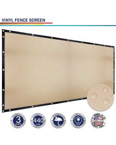 Windscreen4less Custom Size 1-9ft x 1-150ft Fence Privacy Screen Coated Polyester Mesh in Color Beige with Brass Grommets 100% Blockage 440GSM w/3-Year Warranty