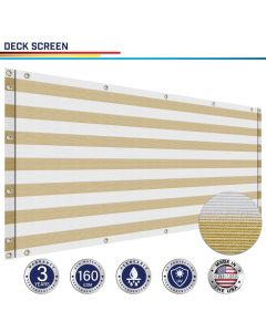 Windscreen4less Custom Size 3-3ft x 1-320ft Heavy Duty Privacy Deck Screen in Color Beige with White Strips with Brass Grommet 90% Blockage Windscreen Outdoor Mesh Fencing Cover Netting 160GSM Fabric w/3-Year Warranty