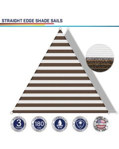 Windscreen4less Custom Size 5-24ft x 5-24ft x 5-34ft Triangle Straight Edge Sun Shade Sail Canopy in Color Brown with White for Outdoor Patio Backyard UV Block Awning with Steel D-Rings 180GSM (3 Year Warranty)