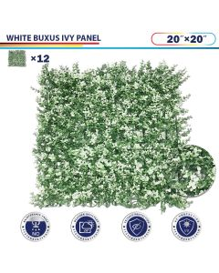 "Windscreen4less Artificial Faux Ivy Leaf Decorative Fence Screen 20"" x 20"" White Buxus 12pcs"