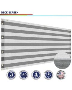 Windscreen4less Custom Size 3-3ft x 1-320ft Heavy Duty Privacy Deck Screen in Color Gray with White Strips with Brass Grommet 90% Blockage Windscreen Outdoor Mesh Fencing Cover Netting 160GSM Fabric w/3-Year Warranty