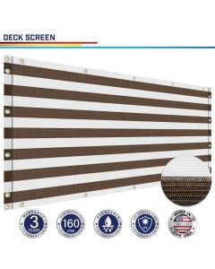 Windscreen4less Custom Size 3-3ft x 1-320ft Heavy Duty Privacy Deck Screen in Color Brown with White Strips with Brass Grommet 90% Blockage Windscreen Outdoor Mesh Fencing Cover Netting 160GSM Fabric w/3-Year Warranty