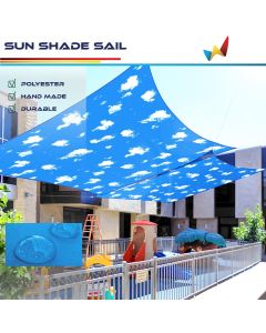 Real Scene Effect of Windscreen4less Terylene Waterproof 10ft x 13ft Rectangle Curve Edge Sun Shade Sail Canopy in Color Sky for Outdoor Patio Backyard UV Block Awning with Steel D-Rings 220GSM (1 Year Warranty)