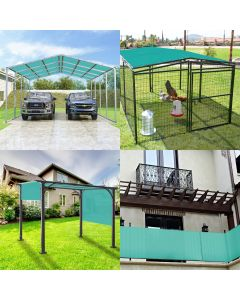 Real Scene Effect of Windscreen4less Custom Size Terylene Waterproof 2-24ft x 2-40ft Rectangle Straight Edge Sun Shade Sail Canopy With Grommets in Color Turquoise Green for Outdoor Patio Backyard UV Block Awning with Steel D-Rings 220GSM (1 Year Warranty)