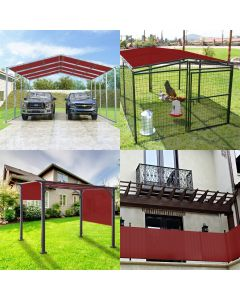 Real Scene Effect of Windscreen4less Custom Size Terylene Waterproof 2-24ft x 2-40ft Rectangle Straight Edge Sun Shade Sail Canopy With Grommets in Color Red for Outdoor Patio Backyard UV Block Awning with Steel D-Rings 220GSM (1 Year Warranty)