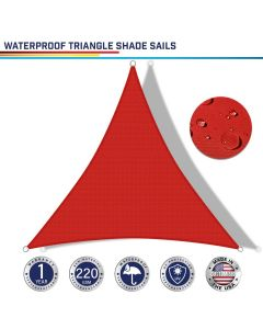 Windscreen4less Terylene Waterproof Custom Size 5-24ft x 5-24ft x 5-34ft Triangle Curve Edge Sun Shade Sail Canopy in Color Red for Outdoor Patio Backyard UV Block Awning with Steel D-Rings 220GSM (1 Year Warranty)