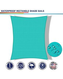 Windscreen4less Terylene Waterproof Custom Size 5-24ft x 5-24ft Rectangle Curve Edge Sun Shade Sail Canopy in Color Turquoise Green for Outdoor Patio Backyard UV Block Awning with Steel D-Rings 220GSM (1 Year Warranty)