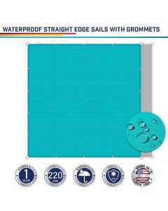 Windscreen4less Custom Size Terylene Waterproof 2-24ft x 2-40ft Rectangle Straight Edge Sun Shade Sail Canopy With Grommets in Color Turquoise Green for Outdoor Patio Backyard UV Block Awning with Steel D-Rings 220GSM (1 Year Warranty)