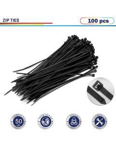 "Windscreen4less 100pcs Black 8"" Heavy Duty Zip Ties,Nylon Cable Ties"