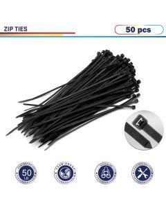 "Windscreen4less 50pcs Black 8"" Heavy Duty Zip Ties,Nylon Cable Ties"