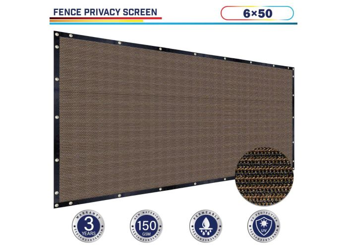 Brown 6ft X 50ft Polyethylene 150gsm Privacy 88 Fence Screen Windscreen4less